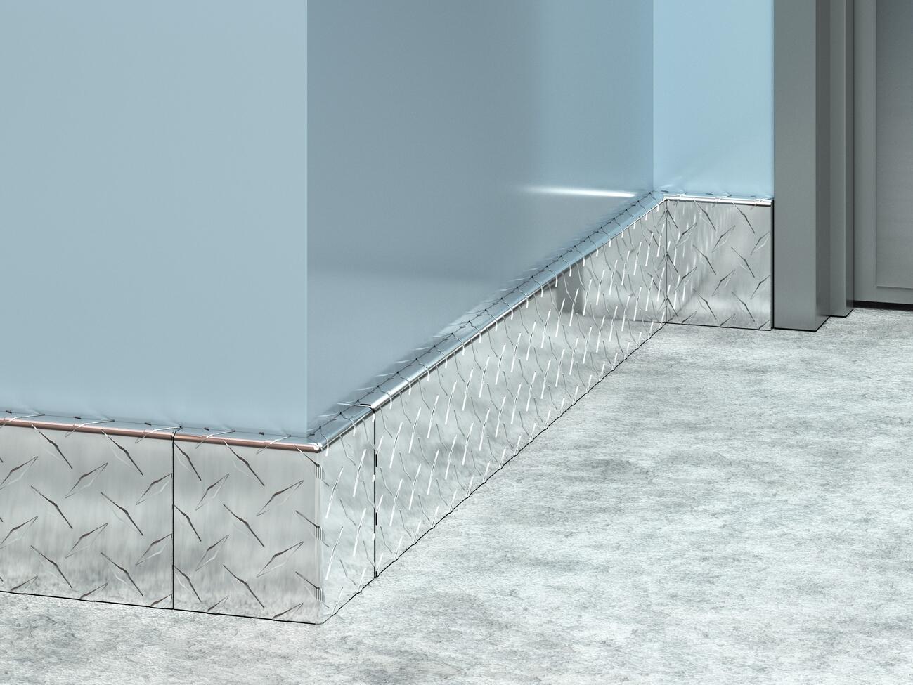 BBAD-4SS Aluminum Diamond Plate Baseboard