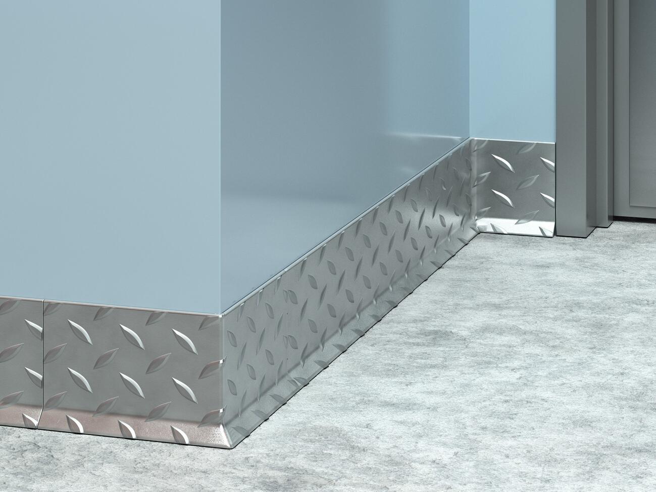 BBSD-64 Stainless Steel Diamond Plate Baseboard
